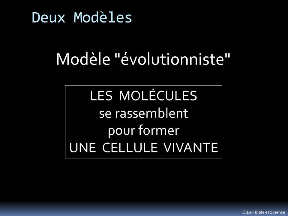O.Le - Bible et Science Modèle évolutionniste LES MOLÉCULES se rassemblent pour former UNE CELLULE VIVANTE Deux Modèles
