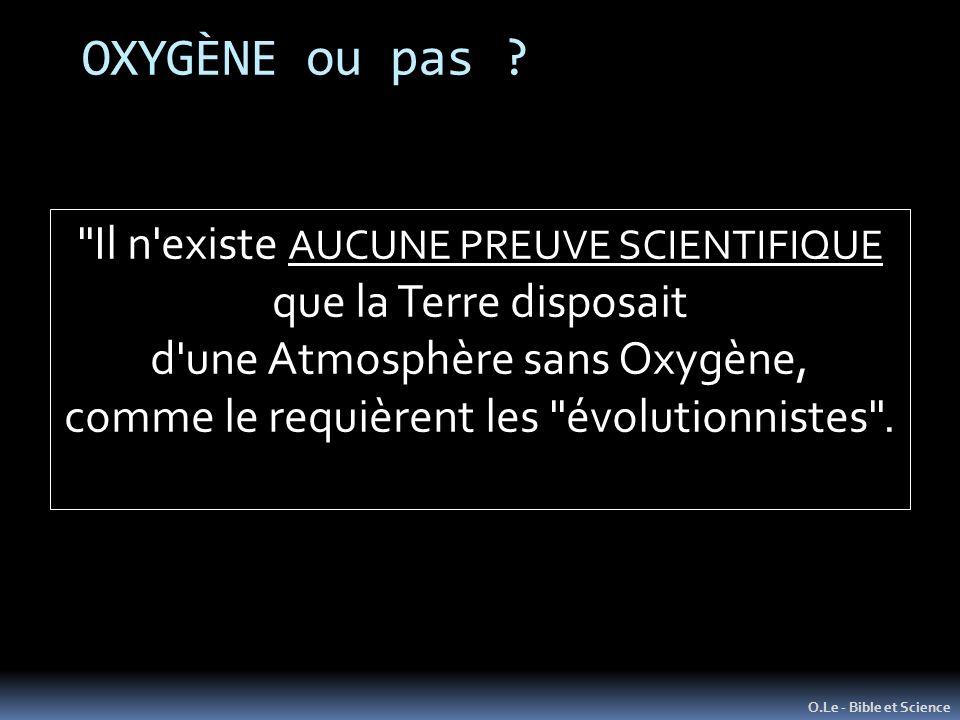OXYGÈNE ou pas ? O.Le - Bible et Science