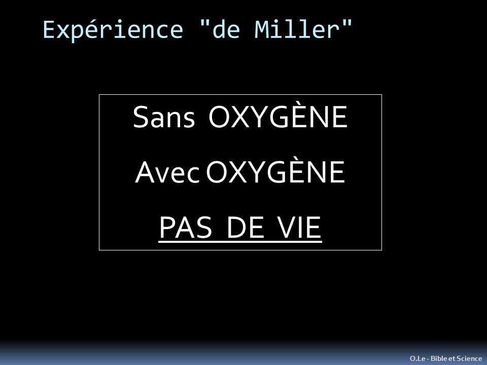 Expérience de Miller O.Le - Bible et Science Sans OXYGÈNE Avec OXYGÈNE PAS DE VIE