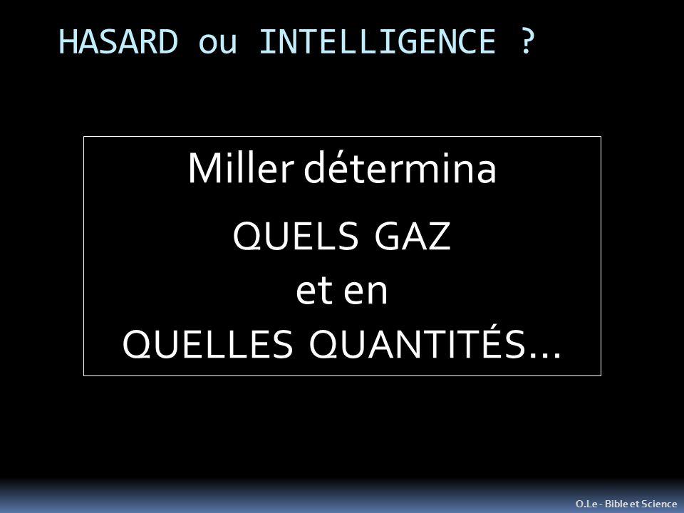 HASARD ou INTELLIGENCE ? O.Le - Bible et Science Miller détermina QUELS GAZ et en QUELLES QUANTITÉS …