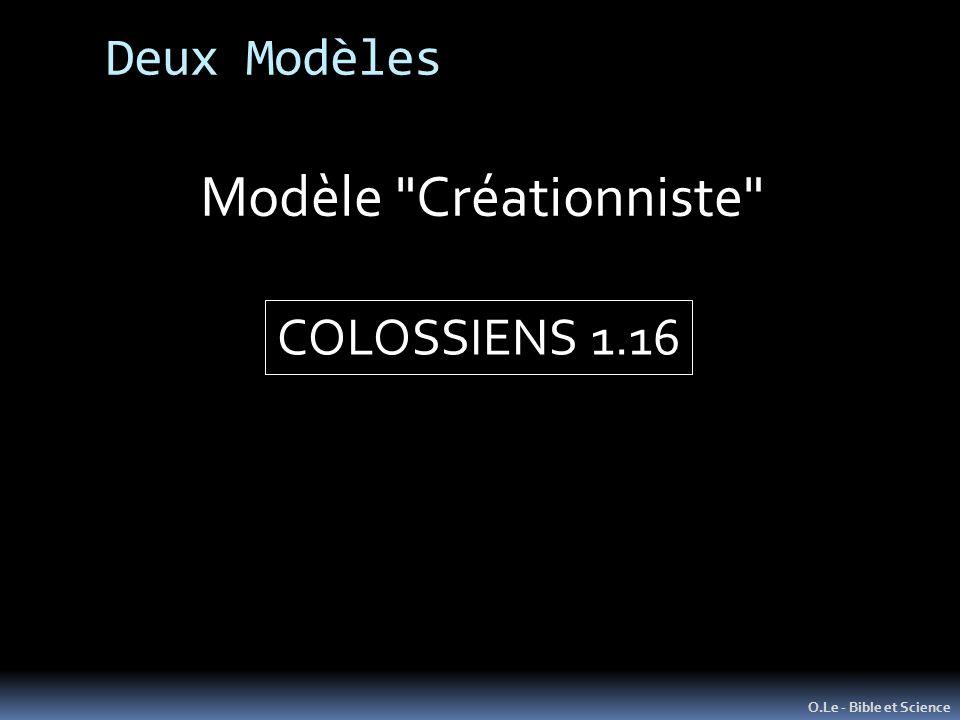 O.Le - Bible et Science Modèle Créationniste COLOSSIENS 1.16 Deux Modèles