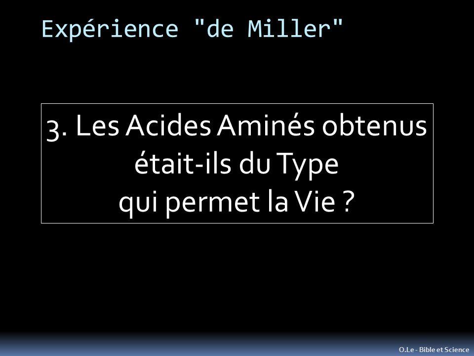 Expérience de Miller O.Le - Bible et Science 3.