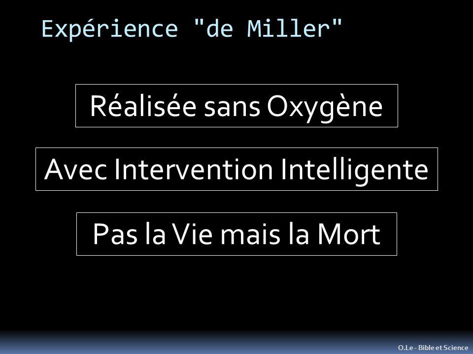 Expérience de Miller O.Le - Bible et Science Réalisée sans Oxygène Avec Intervention Intelligente Pas la Vie mais la Mort