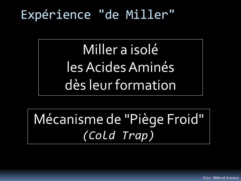Expérience de Miller O.Le - Bible et Science Miller a isolé les Acides Aminés dès leur formation Mécanisme de Piège Froid (Cold Trap)