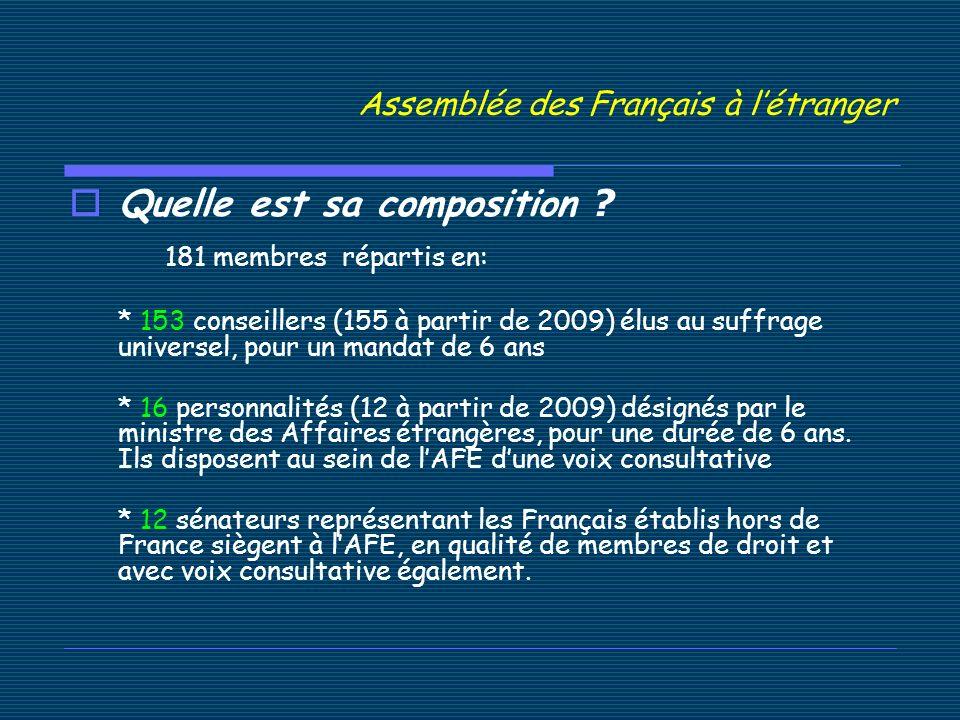 Assemblée des Français à létranger Quelle est sa composition .
