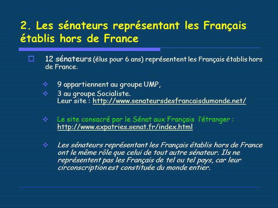 2. Les sénateurs représentant les Français établis hors de France 12 sénateurs (élus pour 6 ans) représentent les Français établis hors de France. 9 a