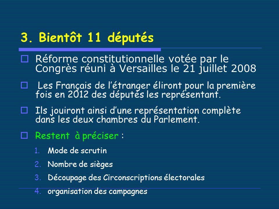 3. Bientôt 11 députés Réforme constitutionnelle votée par le Congrès réuni à Versailles le 21 juillet 2008 Les Français de létranger éliront pour la p