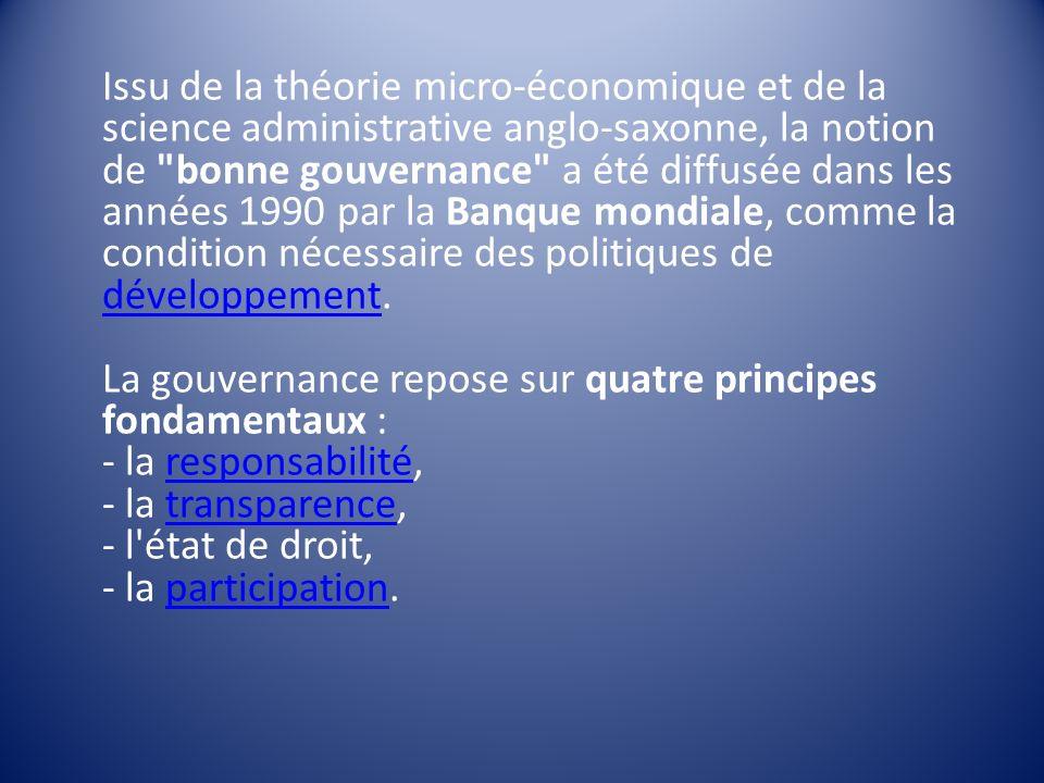 Issu de la théorie micro-économique et de la science administrative anglo-saxonne, la notion de