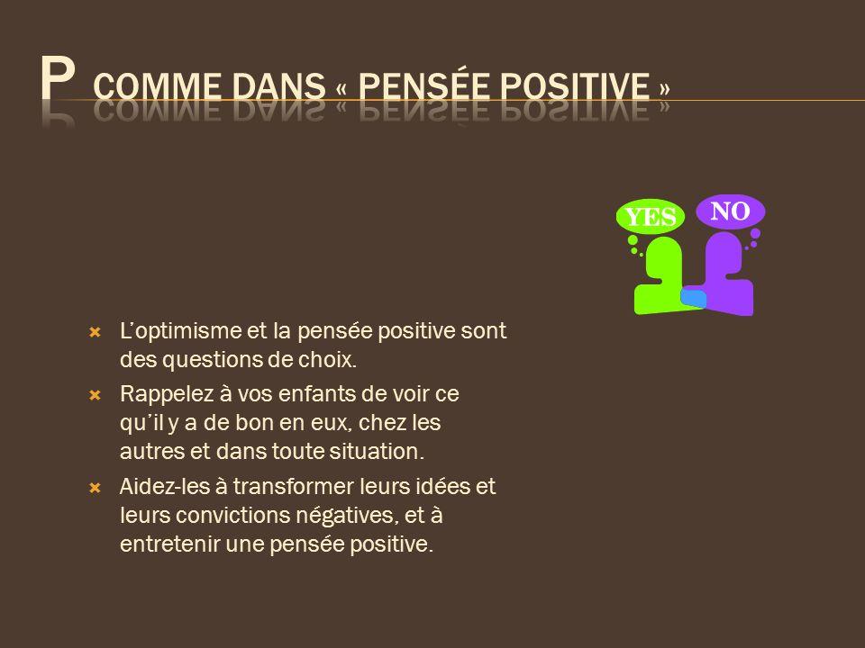 Loptimisme et la pensée positive sont des questions de choix. Rappelez à vos enfants de voir ce quil y a de bon en eux, chez les autres et dans toute