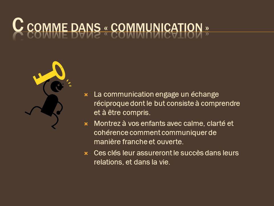 La communication engage un échange réciproque dont le but consiste à comprendre et à être compris. Montrez à vos enfants avec calme, clarté et cohéren