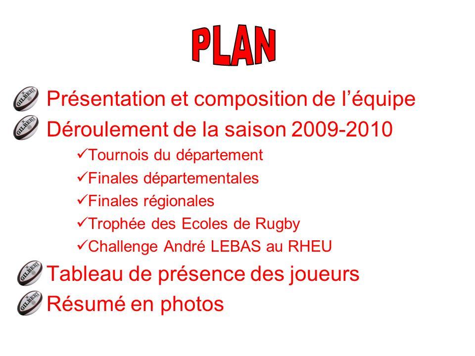Présentation et composition de léquipe Déroulement de la saison 2009-2010 Tournois du département Finales départementales Finales régionales Trophée d