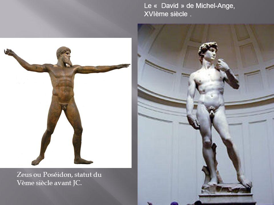 Zeus ou Poséidon, statut du Vème siècle avant JC. Le « David » de Michel-Ange, XVIème siècle.
