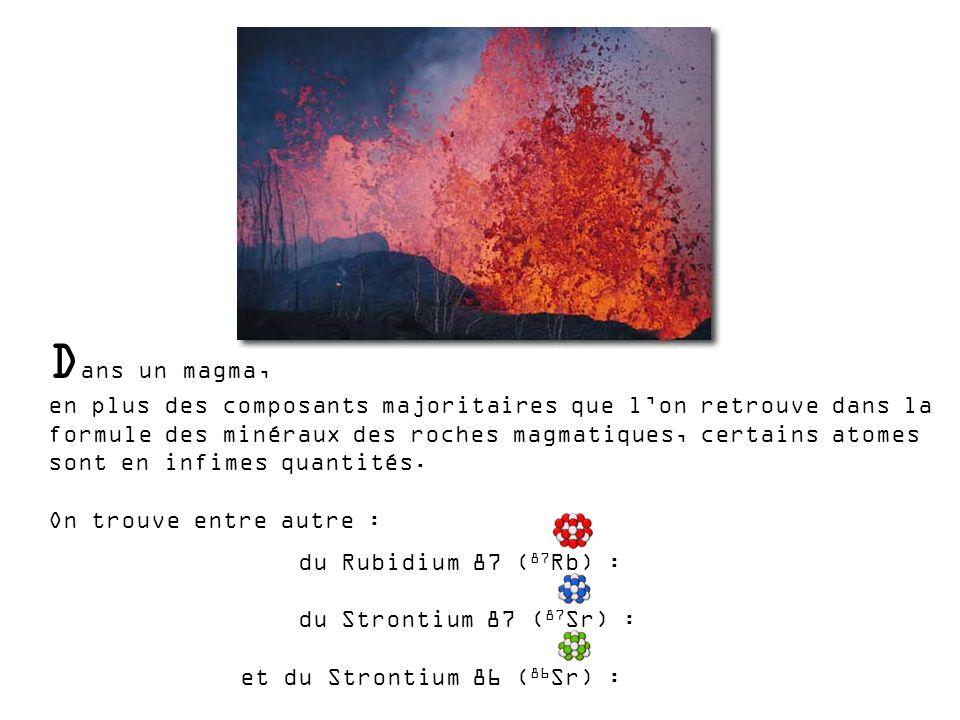 D ans un magma, en plus des composants majoritaires que lon retrouve dans la formule des minéraux des roches magmatiques, certains atomes sont en infi