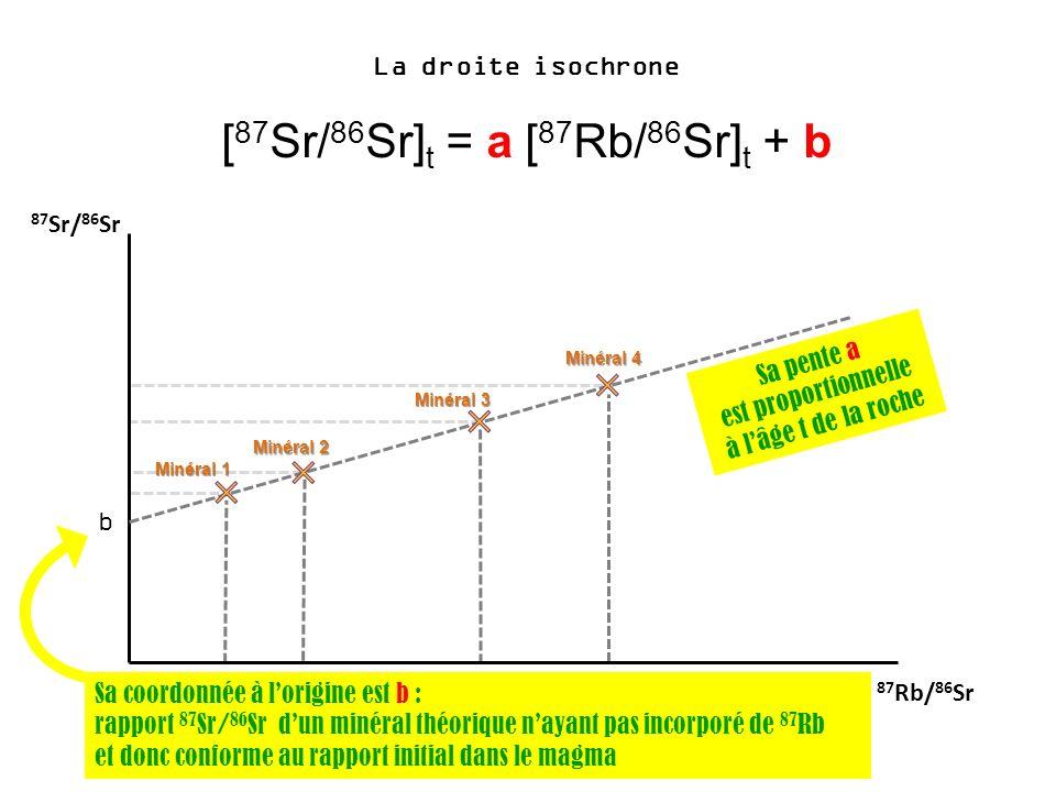 La droite isochrone [ 87 Sr/ 86 Sr] t = a [ 87 Rb/ 86 Sr] t + b 87 Sr/ 86 Sr 87 Rb/ 86 Sr b Sa coordonnée à lorigine est b : rapport 87 Sr/ 86 Sr dun