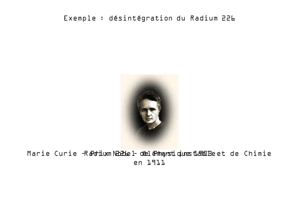 Radium 226 – élément instable Exemple : désintégration du Radium 226 Marie Curie – Prix Nobel de Physique 1903 et de Chimie en 1911