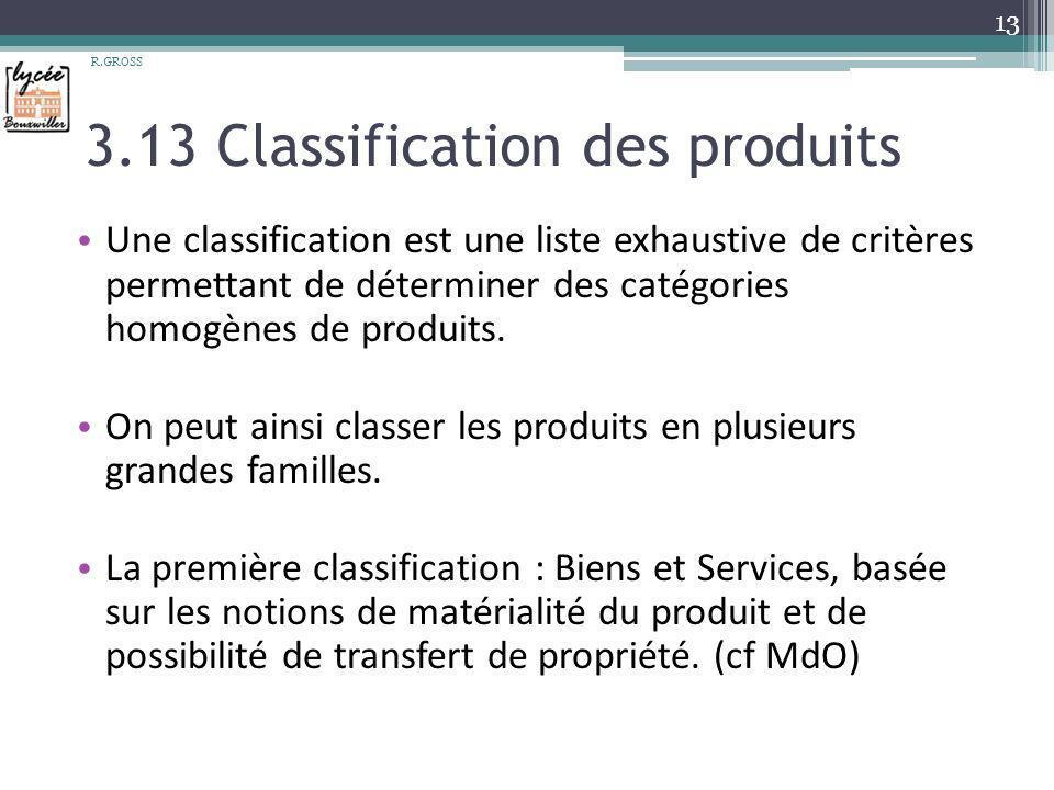 3.13 Classification des produits Une classification est une liste exhaustive de critères permettant de déterminer des catégories homogènes de produits