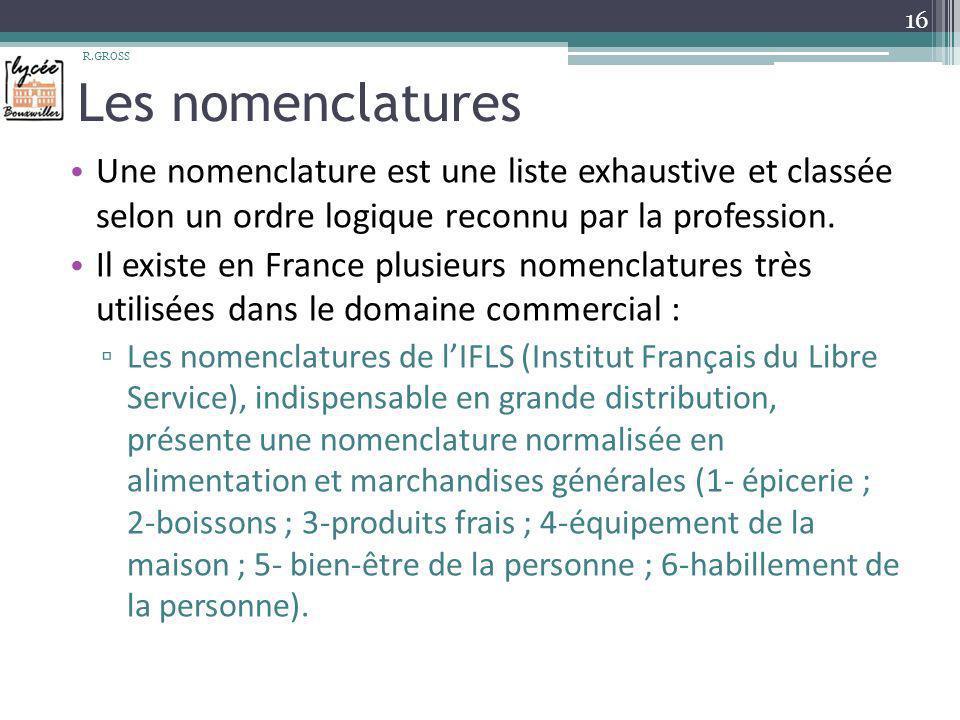 Les nomenclatures Une nomenclature est une liste exhaustive et classée selon un ordre logique reconnu par la profession. Il existe en France plusieurs