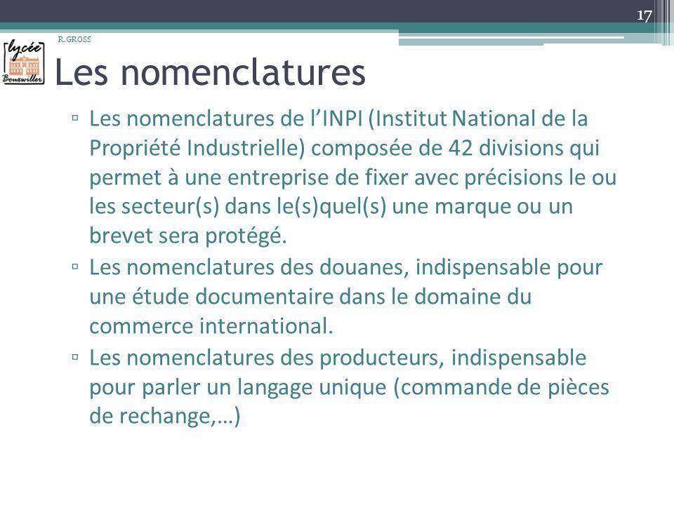 Les nomenclatures Les nomenclatures de lINPI (Institut National de la Propriété Industrielle) composée de 42 divisions qui permet à une entreprise de