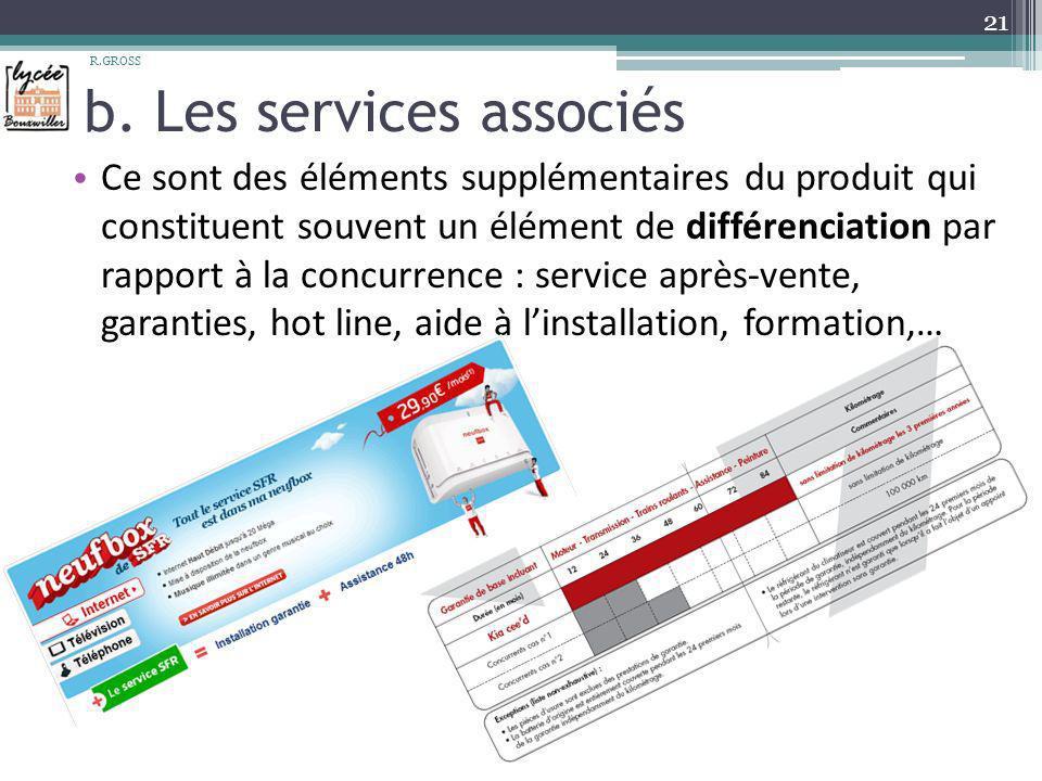 b. Les services associés Ce sont des éléments supplémentaires du produit qui constituent souvent un élément de différenciation par rapport à la concur