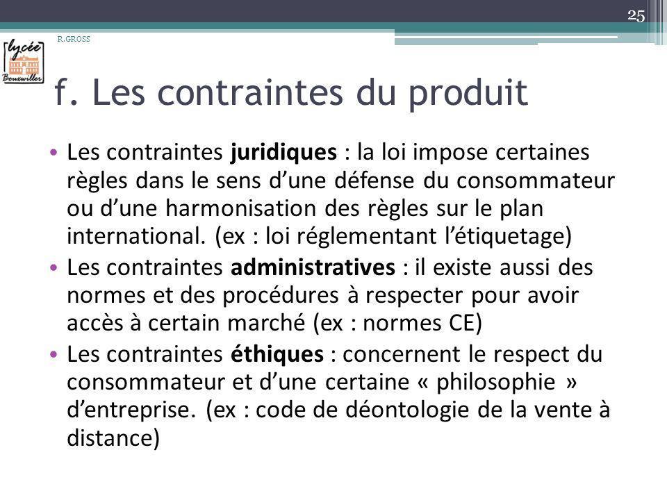 f. Les contraintes du produit Les contraintes juridiques : la loi impose certaines règles dans le sens dune défense du consommateur ou dune harmonisat