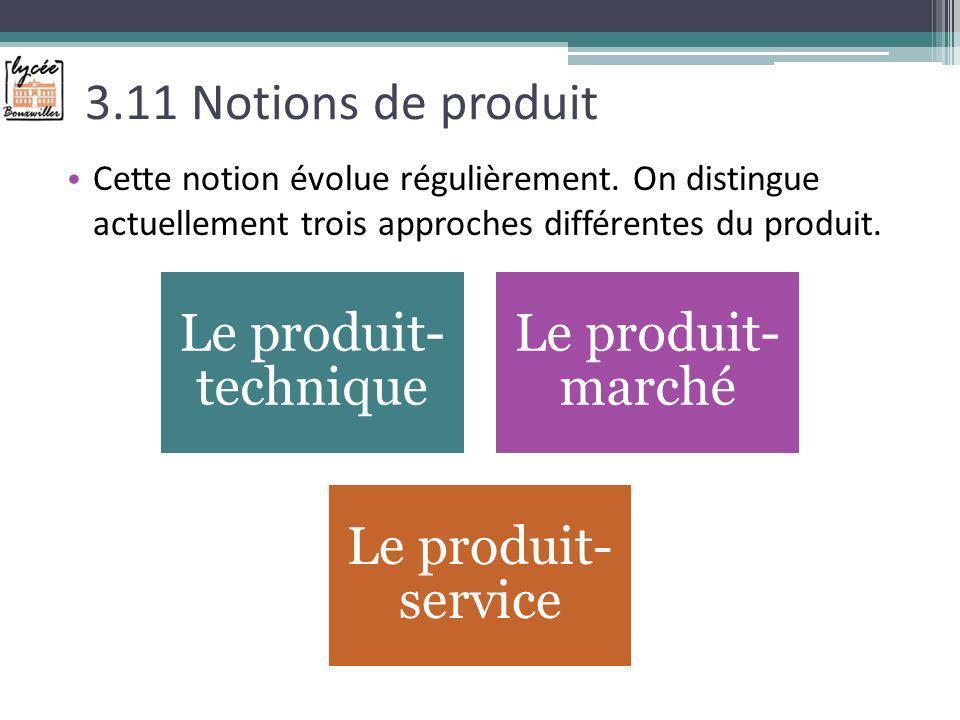 3.11 Notions de produit Cette notion évolue régulièrement. On distingue actuellement trois approches différentes du produit. Le produit- technique Le
