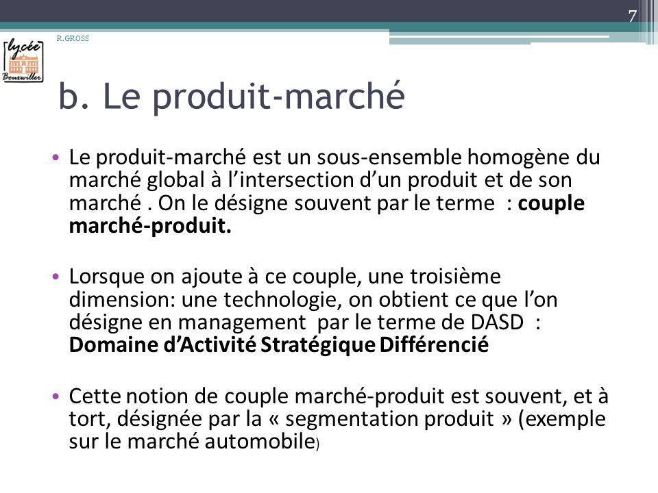 b. Le produit-marché Le produit-marché est un sous-ensemble homogène du marché global à lintersection dun produit et de son marché. On le désigne souv