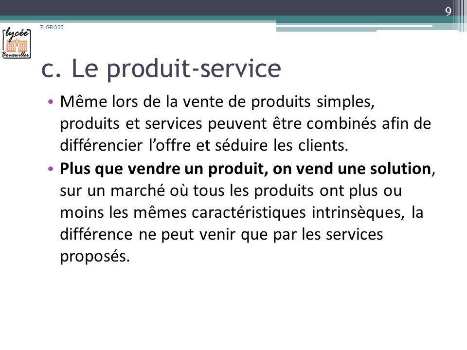 c. Le produit-service Même lors de la vente de produits simples, produits et services peuvent être combinés afin de différencier loffre et séduire les