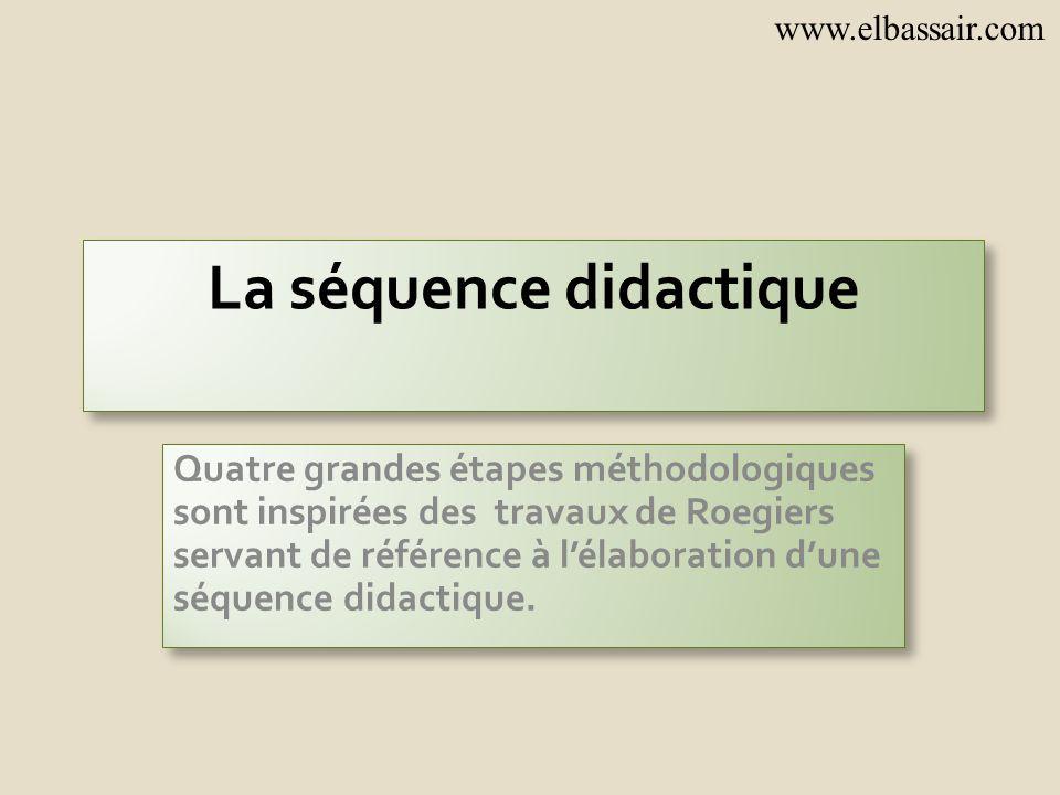 La séquence didactique Quatre grandes étapes méthodologiques sont inspirées des travaux de Roegiers servant de référence à lélaboration dune séquence didactique.