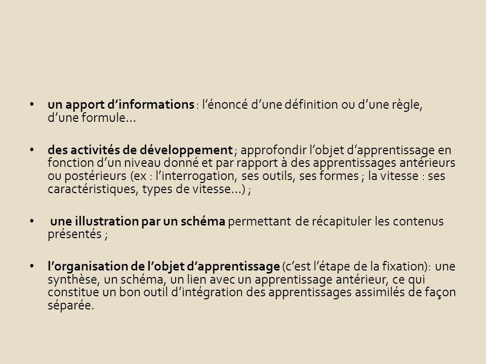 un apport dinformations : lénoncé dune définition ou dune règle, dune formule… des activités de développement ; approfondir lobjet dapprentissage en fonction dun niveau donné et par rapport à des apprentissages antérieurs ou postérieurs (ex : linterrogation, ses outils, ses formes ; la vitesse : ses caractéristiques, types de vitesse…) ; une illustration par un schéma permettant de récapituler les contenus présentés ; lorganisation de lobjet dapprentissage (cest létape de la fixation): une synthèse, un schéma, un lien avec un apprentissage antérieur, ce qui constitue un bon outil dintégration des apprentissages assimilés de façon séparée.