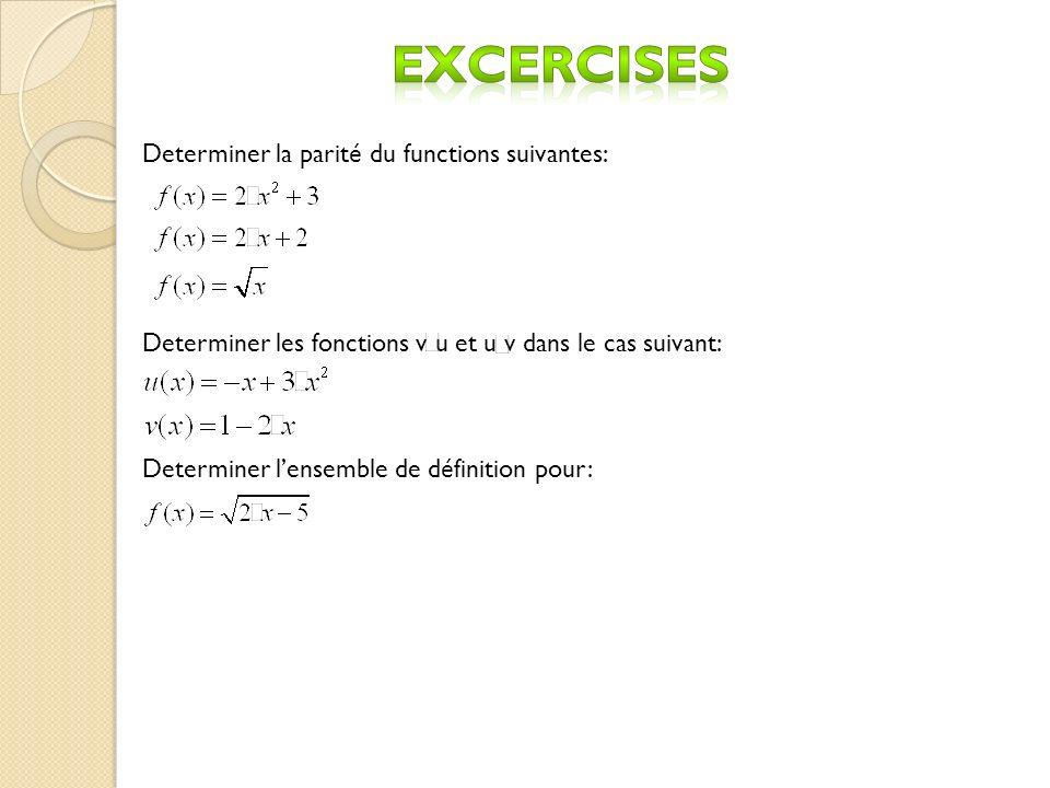 Determiner la parit é du functions suivantes: Determiner les fonctions v u et u v dans le cas suivant: Determiner lensemble de d é finition pour: