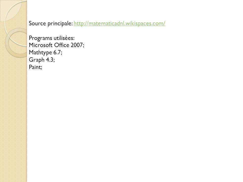 Source principale: http://matematicadnl.wikispaces.com/http://matematicadnl.wikispaces.com/ Programs utilisées: Microsoft Office 2007; Mathtype 6.7; G