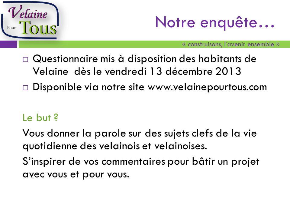 « construisons, lavenir ensemble » Notre enquête… Questionnaire mis à disposition des habitants de Velaine dès le vendredi 13 décembre 2013 Disponible via notre site www.velainepourtous.com Le but .