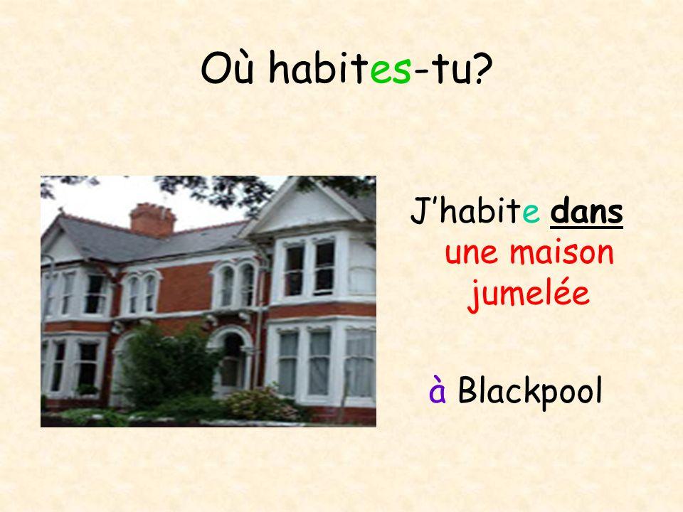 Où habites-tu? Jhabite dans une maison jumelée à Blackpool