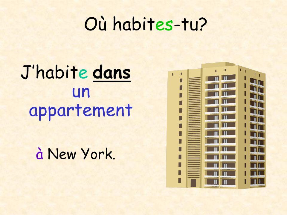 Où habites-tu? Jhabite dans un appartement à New York.