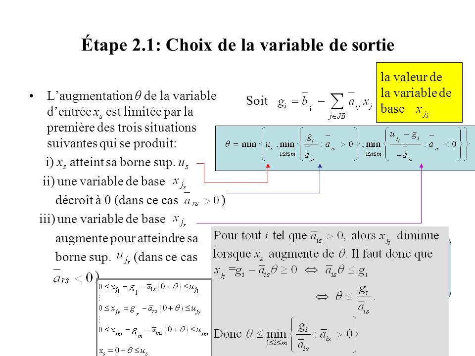 Étape 2.1: Choix de la variable de sortie Laugmentation θ de la variable dentrée x s est limitée par la première des trois situations suivantes qui se