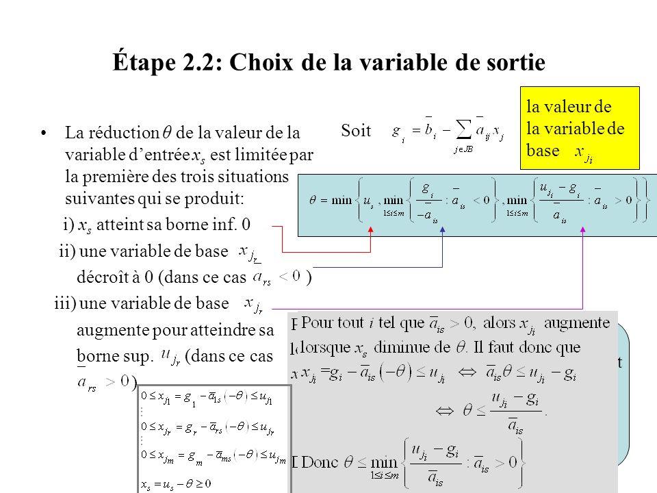 Étape 2.2: Choix de la variable de sortie La réduction θ de la valeur de la variable dentrée x s est limitée par la première des trois situations suiv