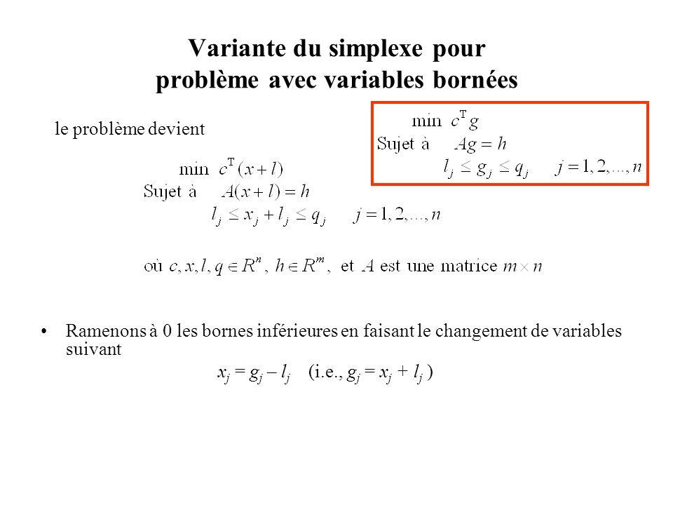 Variante du simplexe pour problème avec variables bornées le problème devient Ramenons à 0 les bornes inférieures en faisant le changement de variable