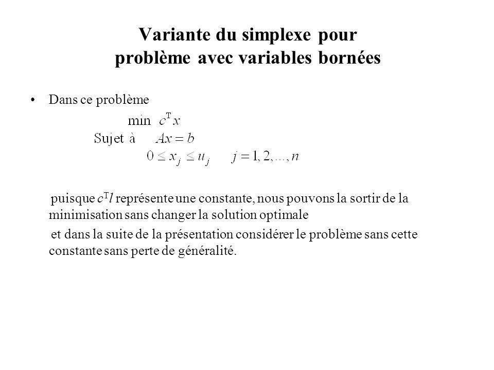 Dans ce problème puisque c T l représente une constante, nous pouvons la sortir de la minimisation sans changer la solution optimale et dans la suite