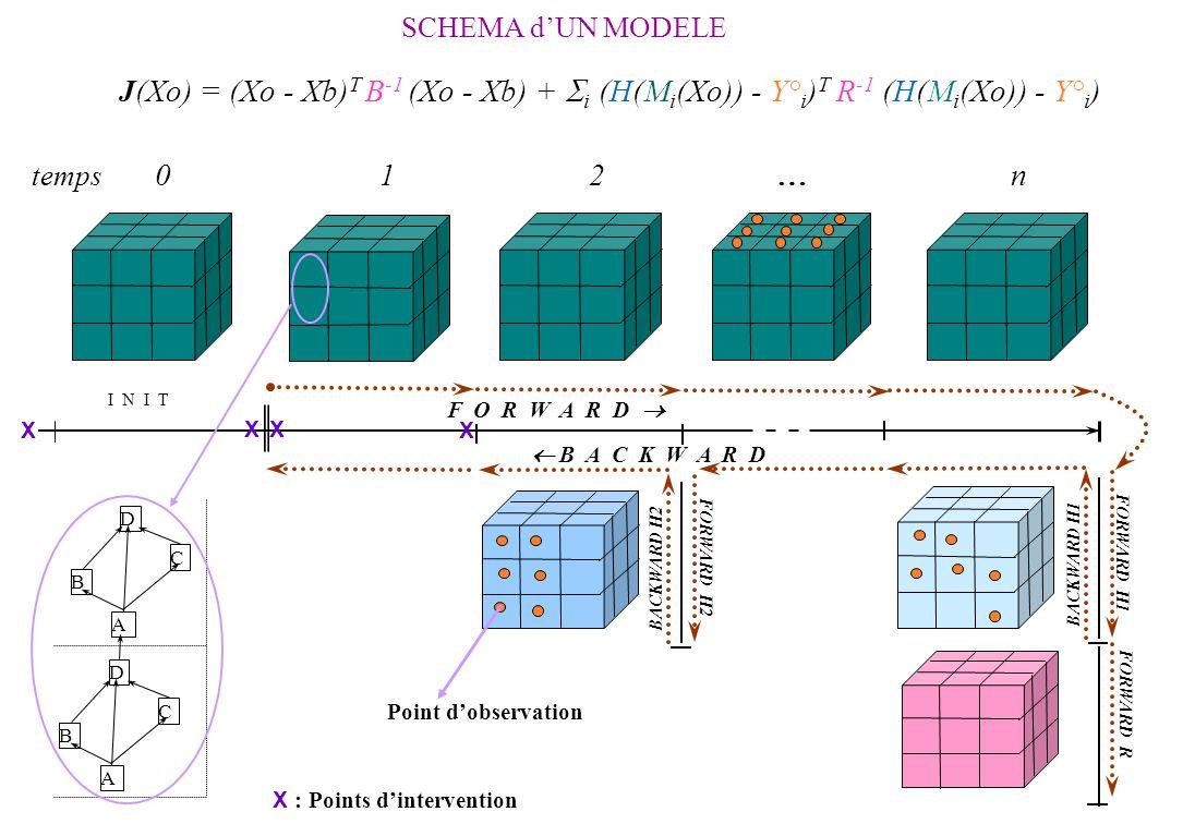 BACKWARD H1 FORWARD H1 F O R W A R D B A C K W A R D I N I T J(Xo) = (Xo - Xb) T B -1 (Xo - Xb) + i (H(M i (Xo)) - Y° i ) T R -1 (H(M i (Xo)) - Y° i ) temps 0 1 2 … n SCHEMA dUN MODELE FORWARD R BACKWARD H2 FORWARD H2 D B C A D B C A Point dobservation X X X X X : Points dintervention