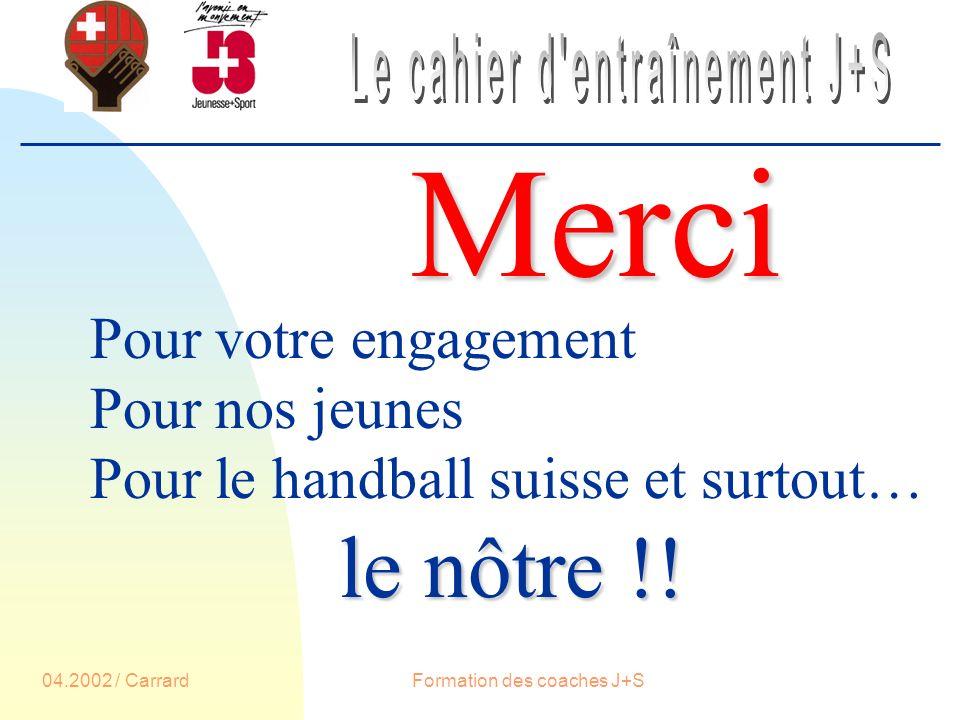 04.2002 / CarrardFormation des coaches J+S Merci Pour votre engagement Pour nos jeunes Pour le handball suisse et surtout… le nôtre !!