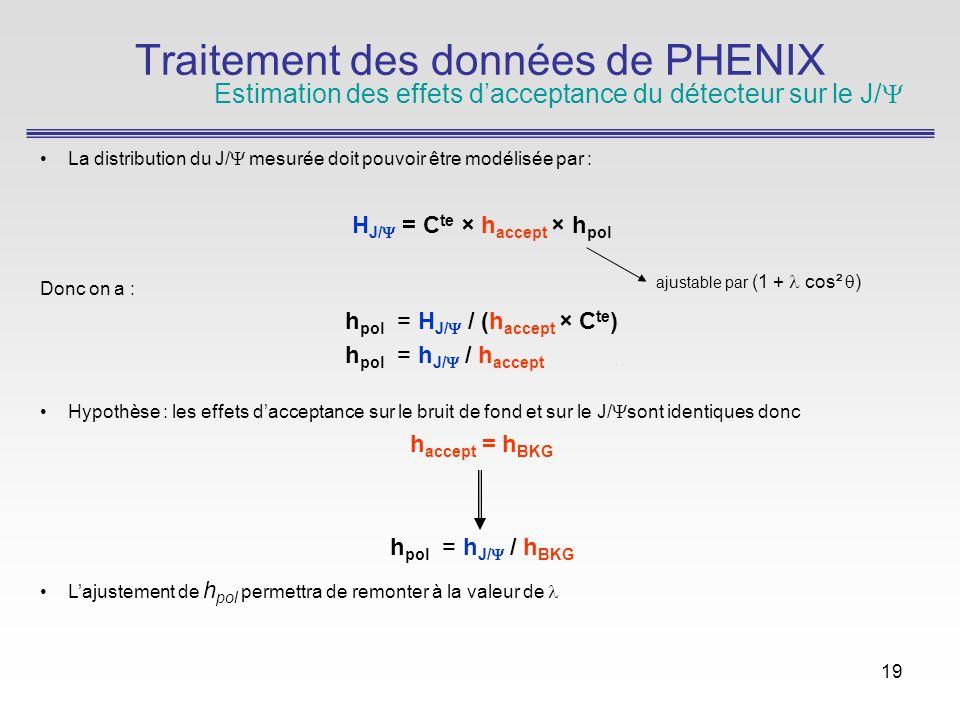 19 La distribution du J/ mesurée doit pouvoir être modélisée par : H J/ = C te × h accept × h pol Donc on a : h pol = H J/ / (h accept × C te ) h pol = h J/ / h accept.