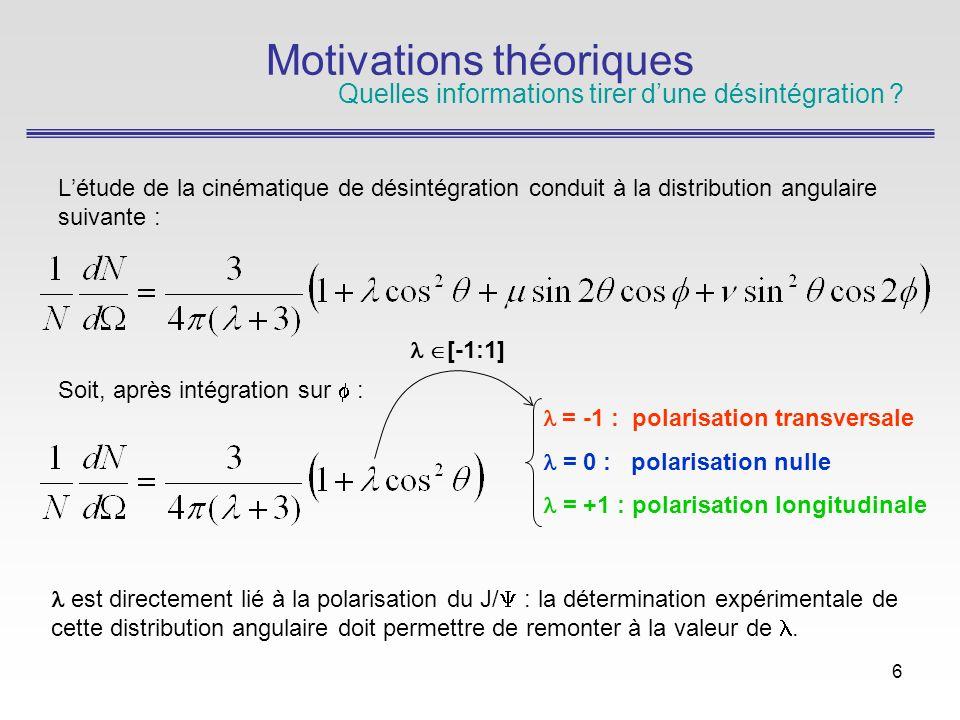 6 Létude de la cinématique de désintégration conduit à la distribution angulaire suivante : Soit, après intégration sur : Motivations théoriques Quelles informations tirer dune désintégration .