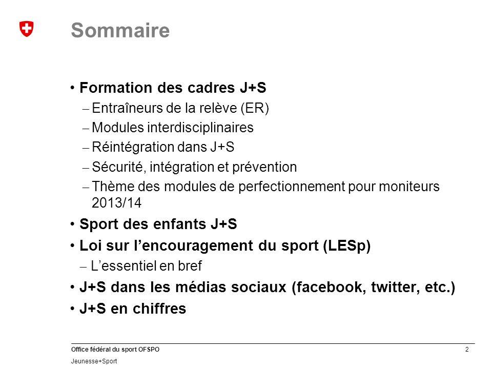 33 Office fédéral du sport OFSPO Jeunesse+Sport Contenus J+S dans les médias sociaux Quel genre dinformations sur J+S trouve-t-on dans les médias sociaux.