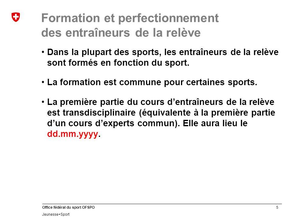26 Office fédéral du sport OFSPO Jeunesse+Sport Formation des cadres J+S: Structure de la formation