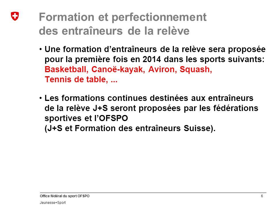 27 Office fédéral du sport OFSPO Jeunesse+Sport Formation des cadres J+S: Structure de la formation Légende Niveau de formation Cours J+S Module J+S Cours de la fédération Module de fédération Passerelle Module dexamen Module transdiciplinaire