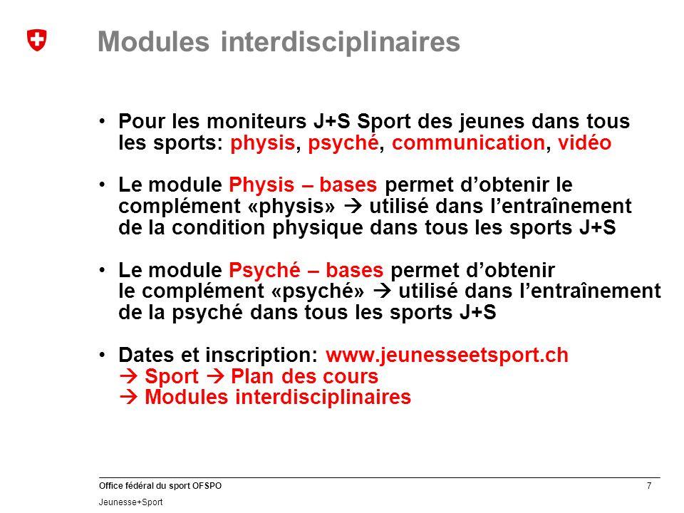 38 Office fédéral du sport OFSPO Jeunesse+Sport Sport des enfantsSport des jeunes Nouveaux moniteur J+S…… Moniteurs J+S suivant une formation continue…… J+S en chiffres 2012: formation des cadres