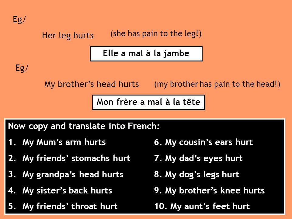 Eg/ My brothers head hurts (my brother has pain to the head!) Mon frère a mal à la tête Eg/ Her leg hurts (she has pain to the leg!) Elle a mal à la jambe Now copy and translate into French: 1.My Mums arm hurts6.