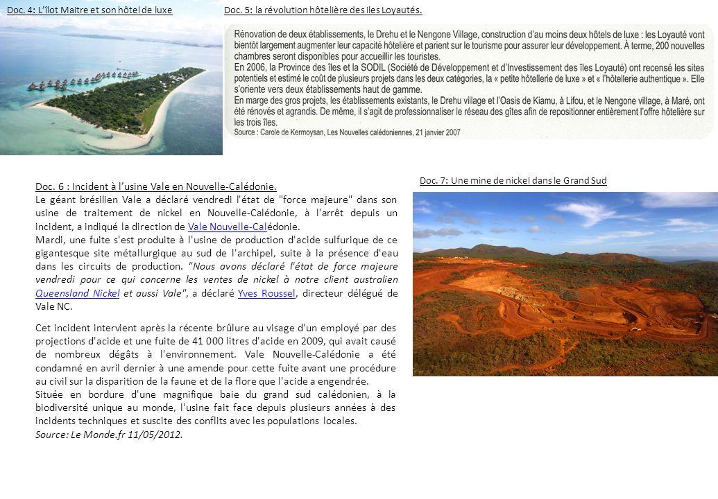 Doc. 6 : Incident à lusine Vale en Nouvelle-Calédonie. Le géant brésilien Vale a déclaré vendredi l'état de