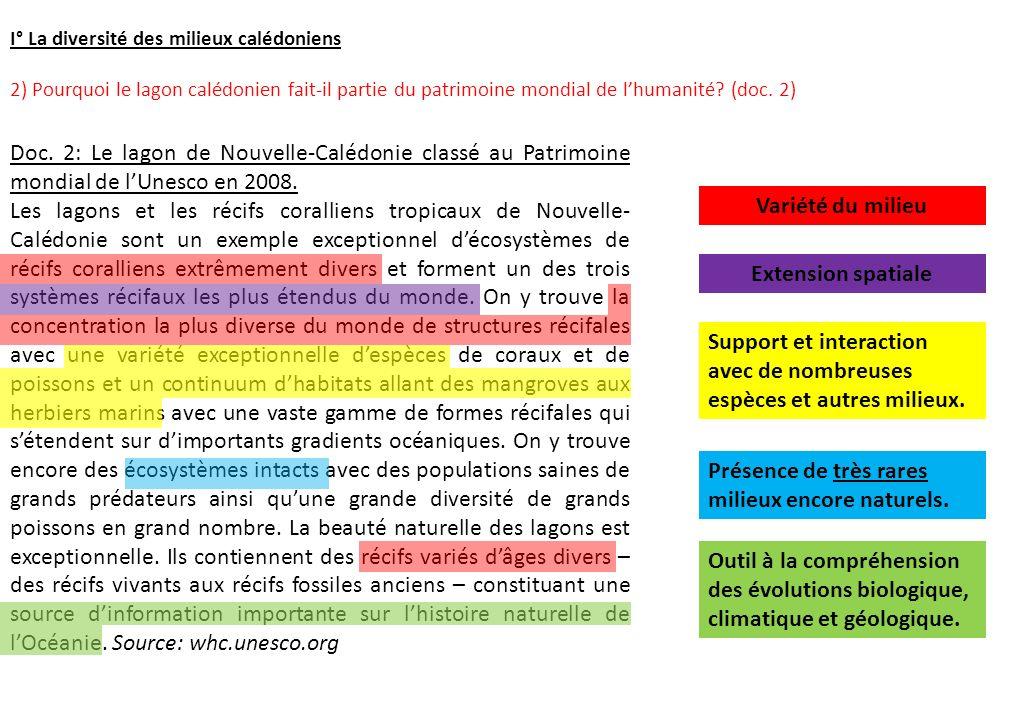 I° La diversité des milieux calédoniens 2) Pourquoi le lagon calédonien fait-il partie du patrimoine mondial de lhumanité? (doc. 2) Doc. 2: Le lagon d
