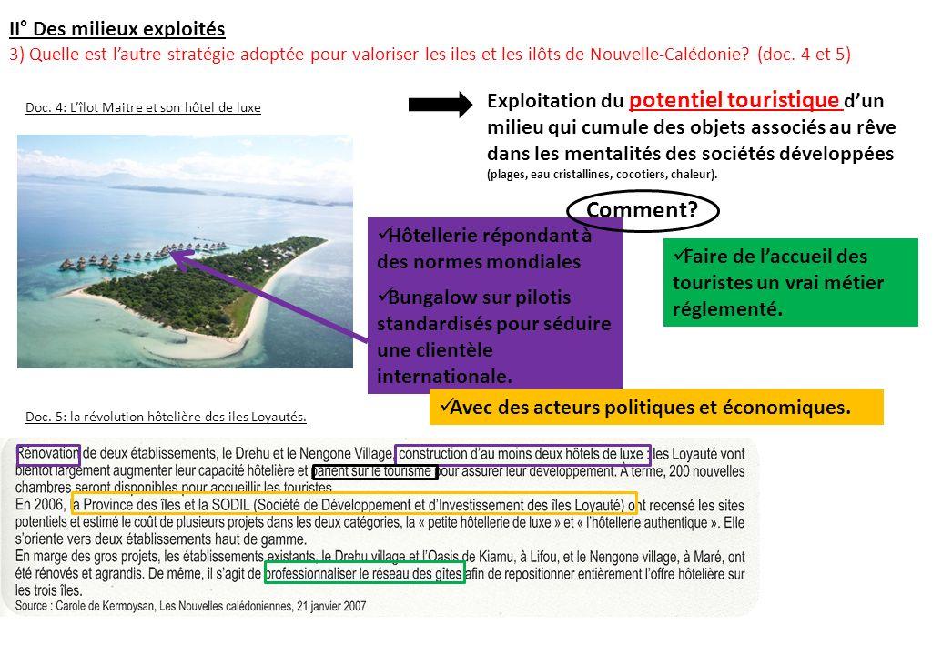 II° Des milieux exploités 3) Quelle est lautre stratégie adoptée pour valoriser les iles et les ilôts de Nouvelle-Calédonie? (doc. 4 et 5) Doc. 4: Lîl